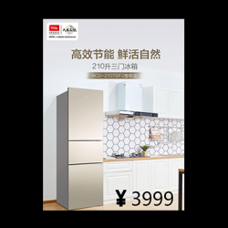 TCL冰箱BCD-210TBF2香槟金-三门